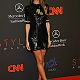 Lily Aldridge wore a short sequined dress to the event.