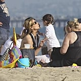 Sarah Michelle Gellar and Charlotte Prinze joined friends at the beach.