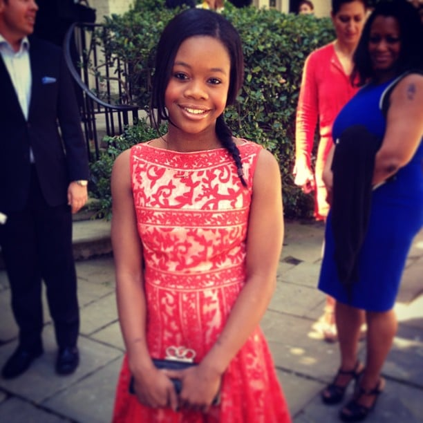 Gabby Douglas attended the brunch in this sweet sundress.