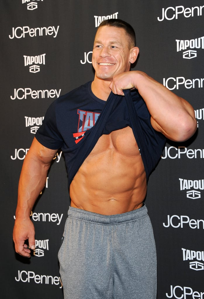John Cena always looks great, and if you take just one look at his dedication to health and fitness, it's easy to see why. I recently had a chance to chat with the WWE superstar on the phone as he promoted the new Tapout fitness line at JCPenney in NYC, and it's safe to say that he's not messing around. In addition to revealing his favorite workout moves and healthy snacks, John also shared what motivates him to work out and offered up advice for beginners who are just starting to exercise. If John was already on your radar, prepare to love him even more after reading what he had to say.        Related:                                                                57 Photos of John Cena and Nikki Bella's Over-the-Top Romance                                                                   The Simple Question John Cena Asked Nikki Bella That Turned Their Friendship Into Romance
