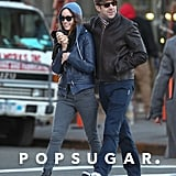 Olivia Wilde wore a blue hoodie and a matching leather jacket.