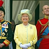 Pictured: Princess Anne, Queen Elizabeth II, Prince Philip.