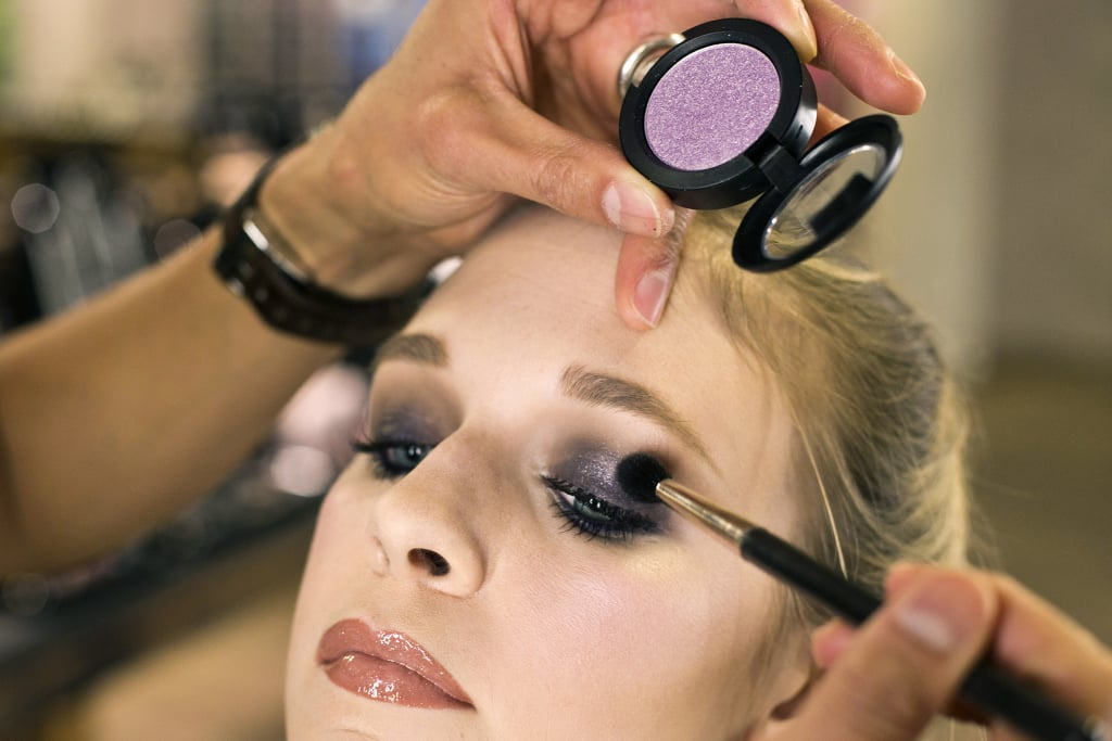 "For a little more dimension, hit the center of the lid with a touch of superfine shimmer. ""The trick is to tilt your head back so nothing falls off the eye while you're placing the pigment,"" he says. This means you won't have to worry about cleaning up bits of eye makeup off your cheeks and under your eyes."