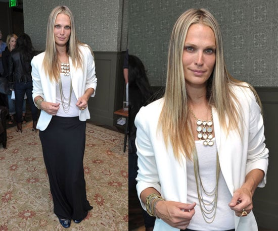 Molly Sims Wearing White Blazer, Long Black Skirt, and Grayce Jewels
