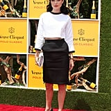 Jessica Stam reminded us of some kind of sexy retro vixen in this black and white Tom Browne ensemble. Her old-school hat, with a polka dot veil by Maison Michele, and two-toned pumps really gave the look its nostalgic charm.