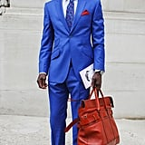 If you're thinking, man, he looks dapper, don't think you can't do the same. Embrace the unexpectedly chic effect of a blazer, buttoned-up blouse and a tie to top your skinny pants at work and on weekends. Your version will illicit just as many compliments. 8391429 Source: Stylesight