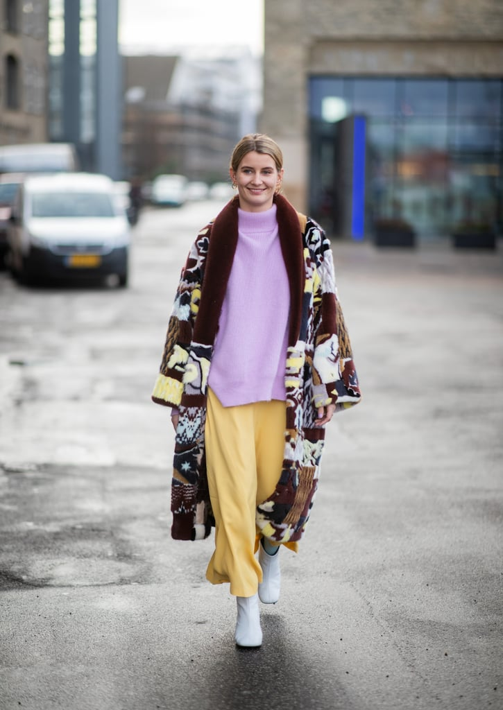 For a Bohemian Look, Top Your Pastel-Coloured Outfit With a Printed Coat