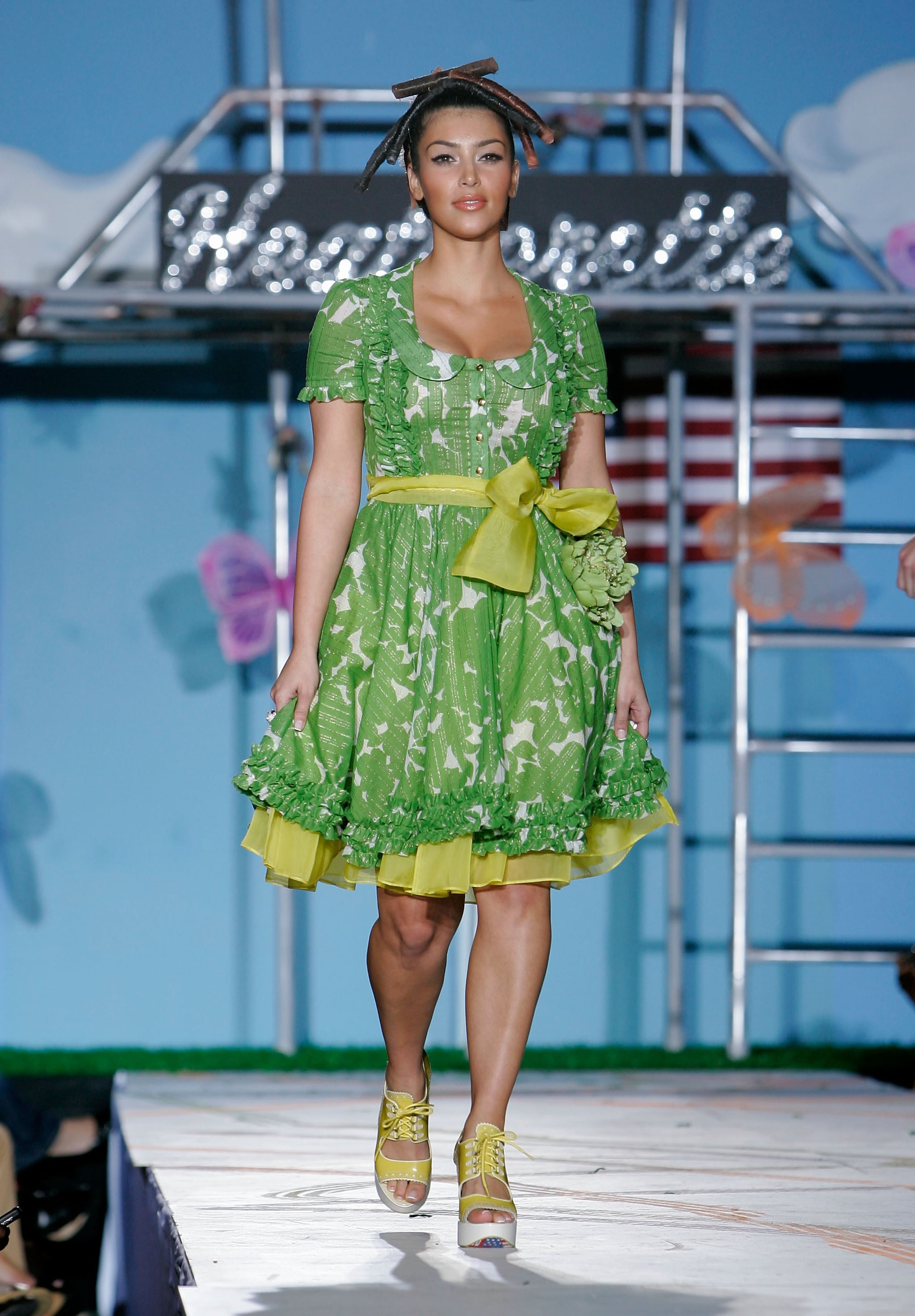 Kim Kardashian walked the runway for Heatherette's Spring 2008 show in February.