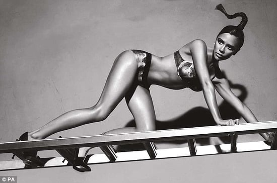 Photos of Victoria Beckham in Lingerie for Giorgio Armani on Ladder