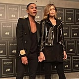 Olivier Rousteing and Gigi held hands.