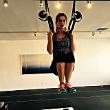 Sara Sampaio strengthens her body with a ring workout.