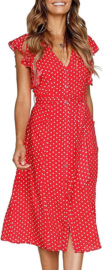 MITILLY Polka Dot Midi Dress With Pockets