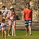 Jessica Alba and Cash Warren walked around their resort.