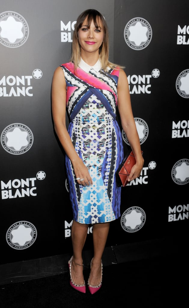Rashida Jones brought color and print to a Hollywood party in a bold Peter Pilotto print sheath.