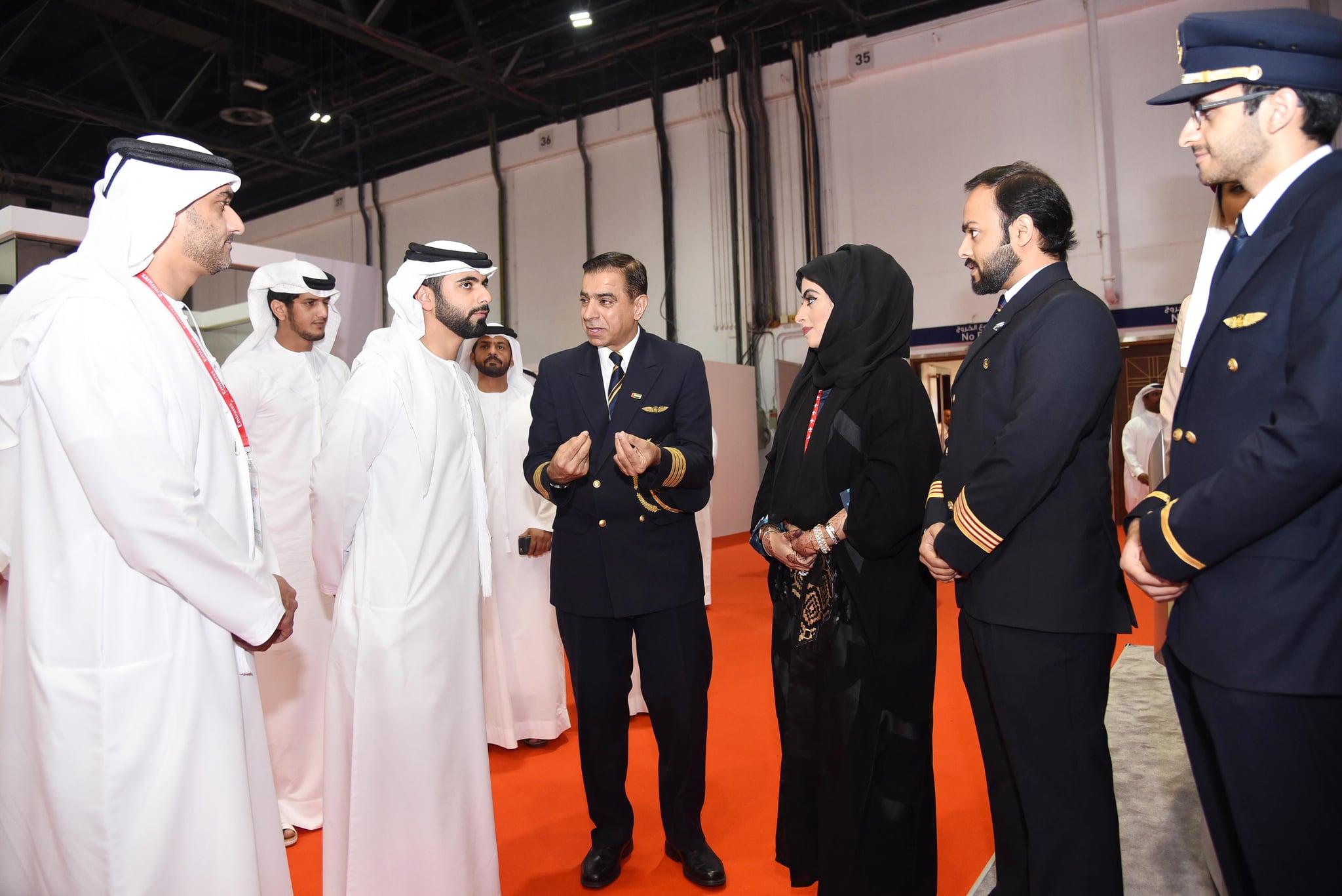 Sheikh Mansoor Visits Emirates Airlines at UAE Careers Fair