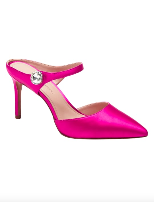Satin Embellished High-Heel Mule Pump