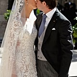 Prince Félix of Luxembourg and his new bride shared a sweet kiss after the ceremony.