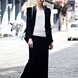 Downtown-chic the easiest way possible with a fitted blazer and a body-grazing maxi skirt.