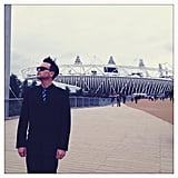 Musician Mark Hoppus posed in front of the Olympic Stadium.  Source: Instagram user markhoppus