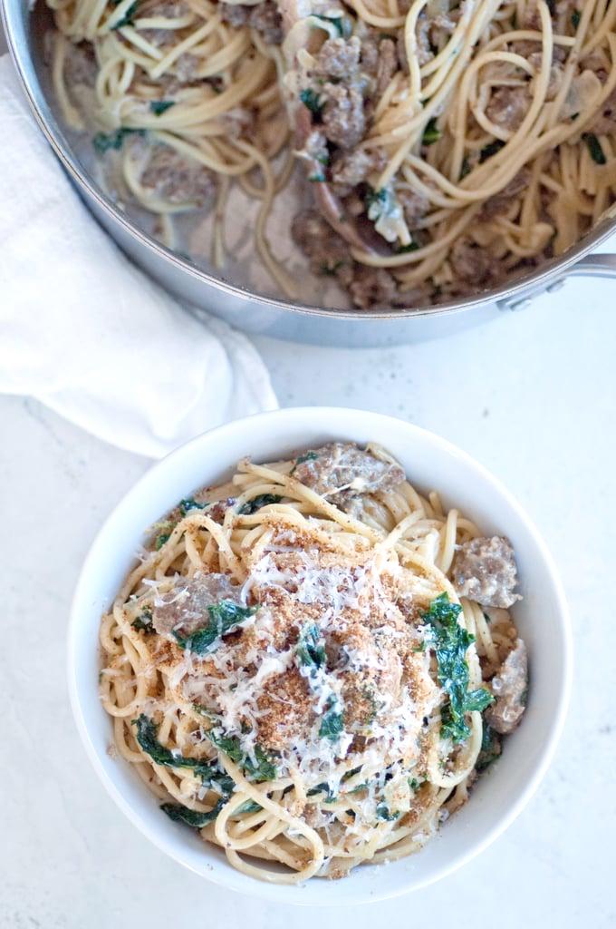 Kale and Italian Sausage Creamy Spaghetti