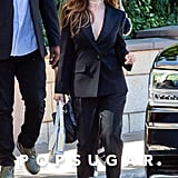 Selena Gomez Wearing a Givenchy Suit in Burbank, California