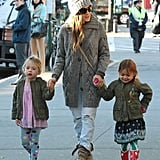 Sarah Jessica Parker walked her twins, Tabitha and Loretta, through NYC.