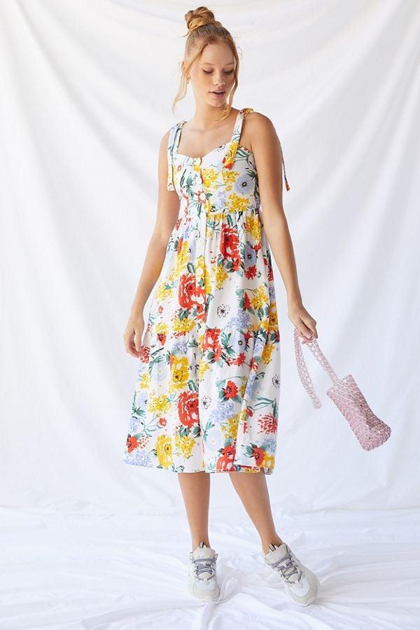 9d4b50a02c13 UO Positano Linen Tie-Shoulder Midi Dress | Best Travel Dresses ...