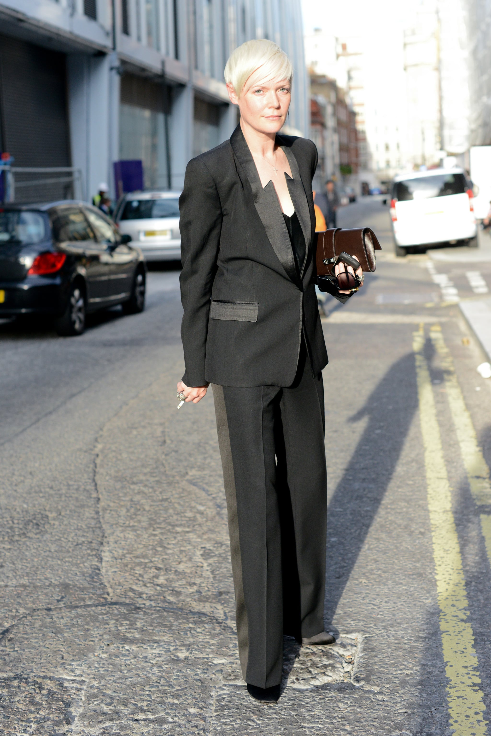 Elle style director Kate Lanphear dressed in her signature all-black uniform, with a tuxedo-style edge this time around.
