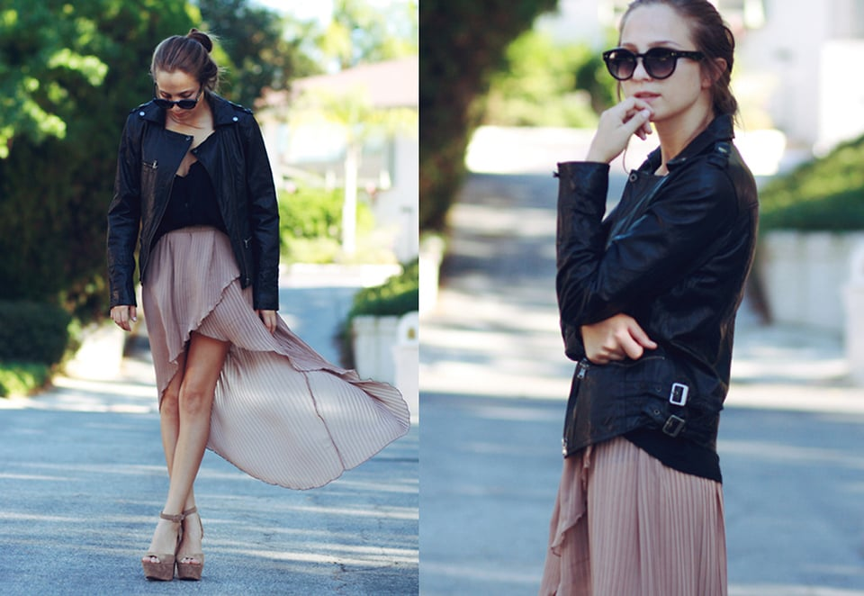 Toughen up a pretty pleated skirt with darker separates — a biker-chick leather jacket should do the trick.   Photo courtesy of Lookbook.nu