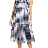 First Monday Tiered Gingham Midi Dress