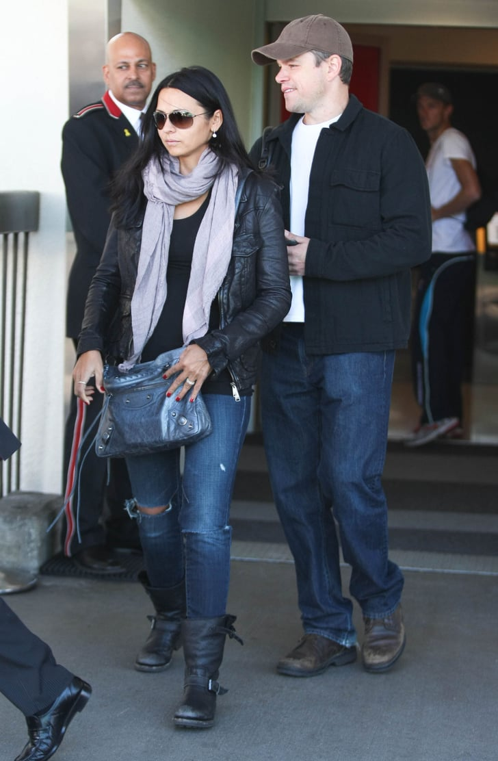 Matt Damon and Luciana Damon headed to their car.