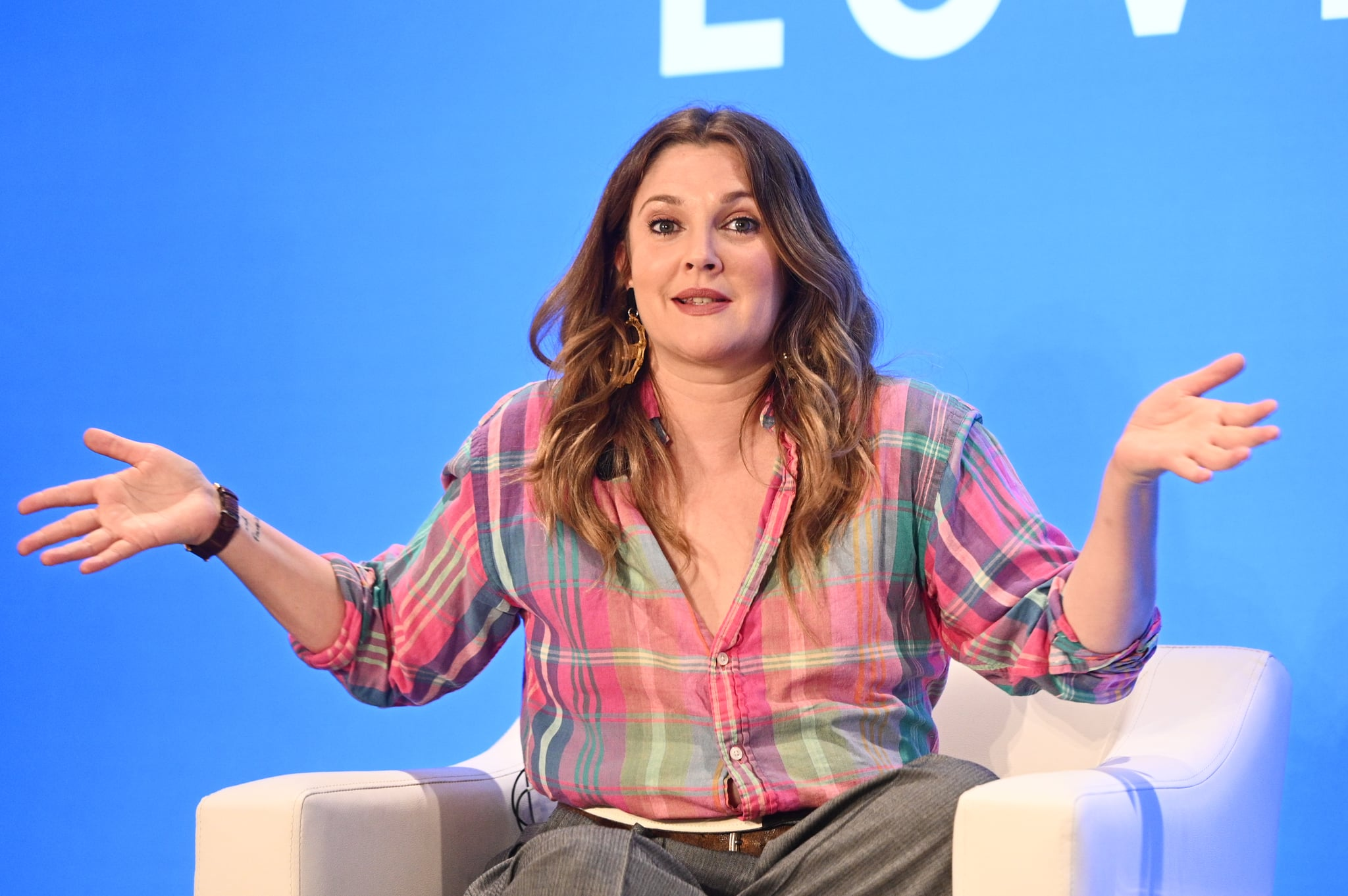 NEW YORK, NEW YORK - MAY 15: Drew Barrymore speaks onstage at the American Express and WeWork