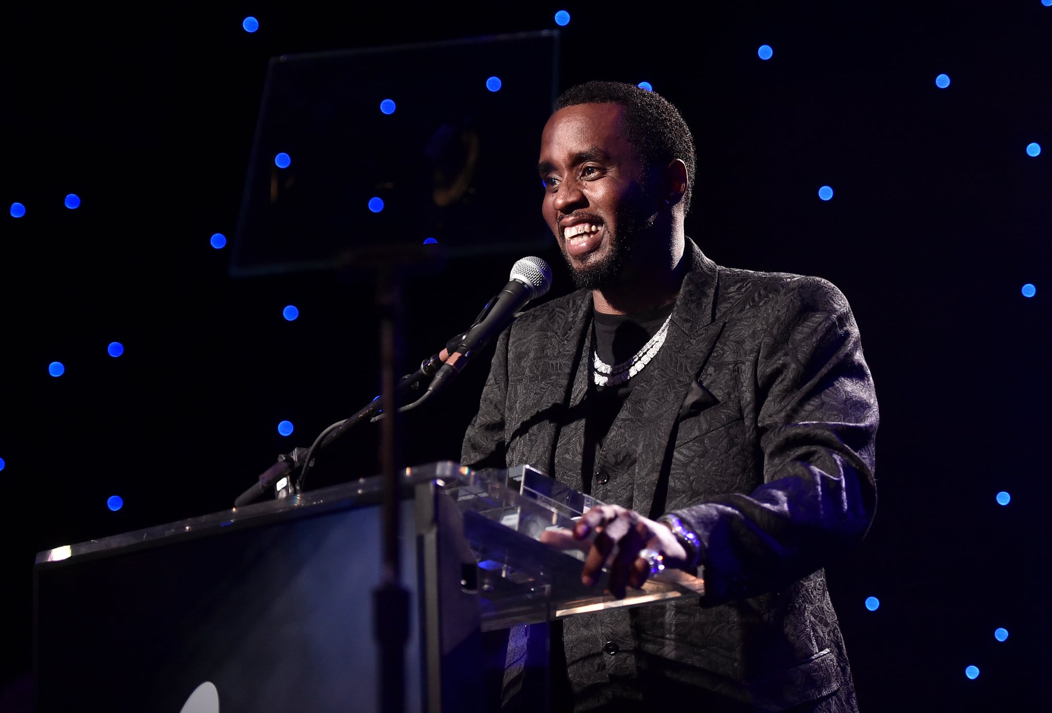 BEVERLY HILLS, CALIFORNIA - JANUARY 25: Sean 'Diddy' Combs accepts the President's Merit Award onstage during the Pre-GRAMMY Gala and GRAMMY Salute to Industry Icons Honoring Sean