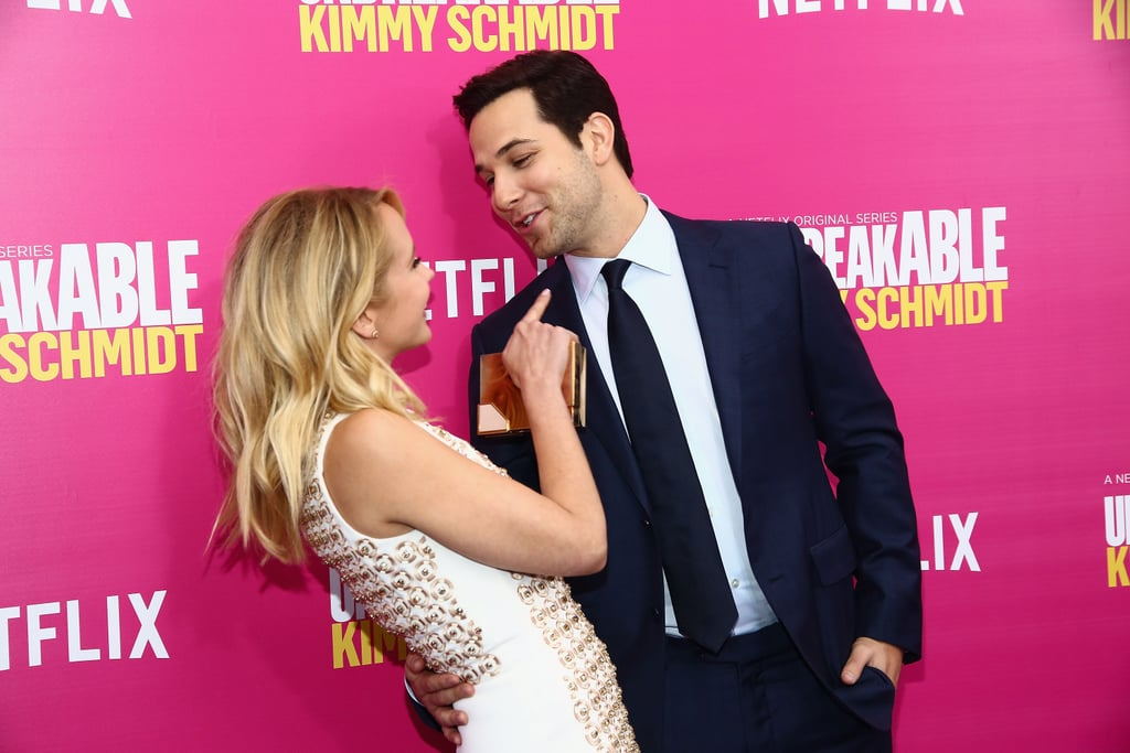 """POPSUGAR: Congratulations on your engagement! Can you tell us a little bit about your decision to also wear an engagement ring? Skylar: Anna and I had been engaged for a month at the time, and she had this beautiful ring that I got her, and I wanted that symbol. I'm looking forward to this marriage, and I just didn't know why I couldn't have a ring. I said, """"Oh, I'll have to wait until the wedding,"""" so [Anna] said, """"No we don't! Let's go get a ring."""" It was really fun. It was honestly the funnest day of looking all around LA for a cool little placeholder for the real thing. We actually had a lot of bad luck finding one. A lot of skulls, a lot of chunky rings . . . because we didn't want to get a real wedding band, we wanted it to be somewhat different. We actually found, just a mile away from her house on the way home, this little vintage store that had this really great piece. I contacted the designer months after because I grew so emotionally attached to the ring that he's going to use the mold and design the actual wedding band. PS: How has the wedding planning process been going so far? Would you say that one of you is more into it than the other?  SA: It's been 100 percent, down-the-middle equal. We've been a blissful team through and through; we've really enjoyed the process. Honestly, Anna turned to me the other day and said, """"I'm really going to miss just planning this wedding with you."""" It's just one day, and we've always been told by our married friends that it comes and goes so quickly, so that's why we've put ourselves, and our hearts, into planning it. It's coming straight from us, and we want it to be unique to our story and our future. It's been great, because we definitely agree on those things, so that's why it's a perfect reflection when it comes to food, wine, music, and all the ceremony stuff. It's just been a blast."""