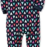 Heart-Print Cotton Footed Pajamas
