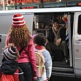 A smiling James Marsden hands out something to children in a creepy white van. I can't wait to see how this Hollywood hunk pulls off the creeper card. Photo courtesy of NBC