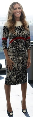 Sarah Jessica Parker in Lace-Print Prabal Gurung Dress
