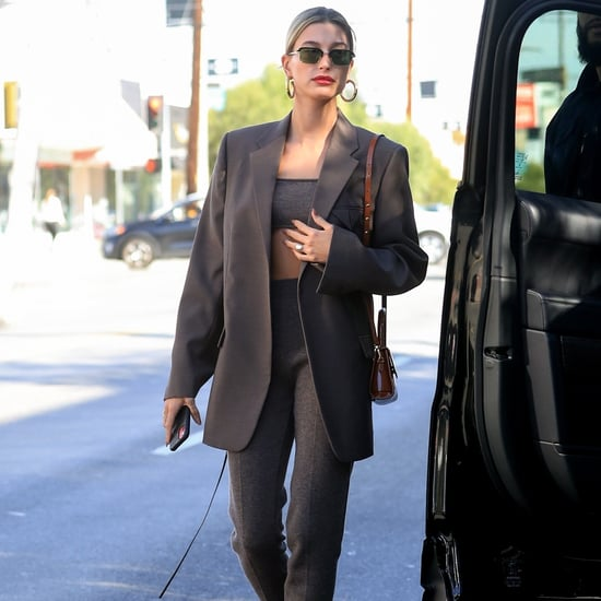 Hailey Bieber's Brown Cashmere Set and Oversize Blazer in LA