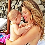 Vivian snuggled up to her mama, Gisele Bündchen, while on vacation. Source: Instagram user giseleofficial