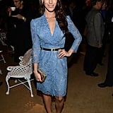 A blue lace dress is a great way to make an entrance. Like Jessica Lowndes did, finish with gold metallic add-ons for a dash of shine.