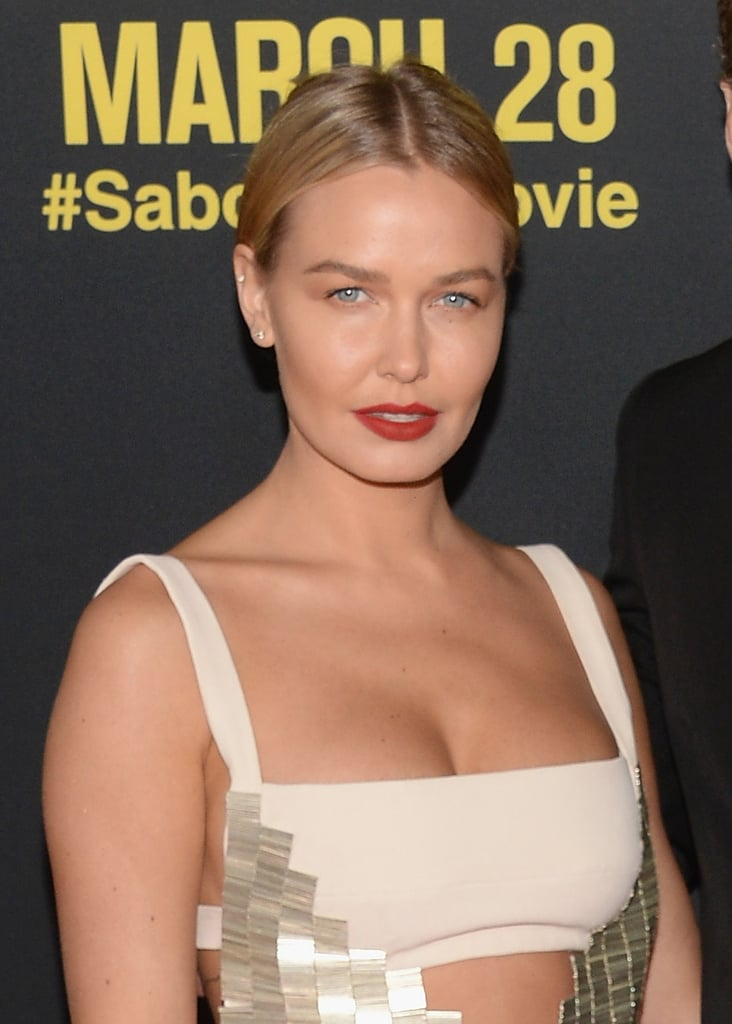 A slick up 'do and oxblood red lip to support Sam's Sabotage movie premiere in LA in March 2014.