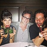 Whitney Cummings double-fisted her drinks with Bob Saget and Jeffrey Ross. Source: Twitter user WhitneyCummings