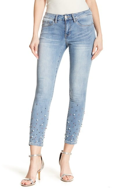 Nanette Lepore Faux Pearl-Embellished Skinny Jeans