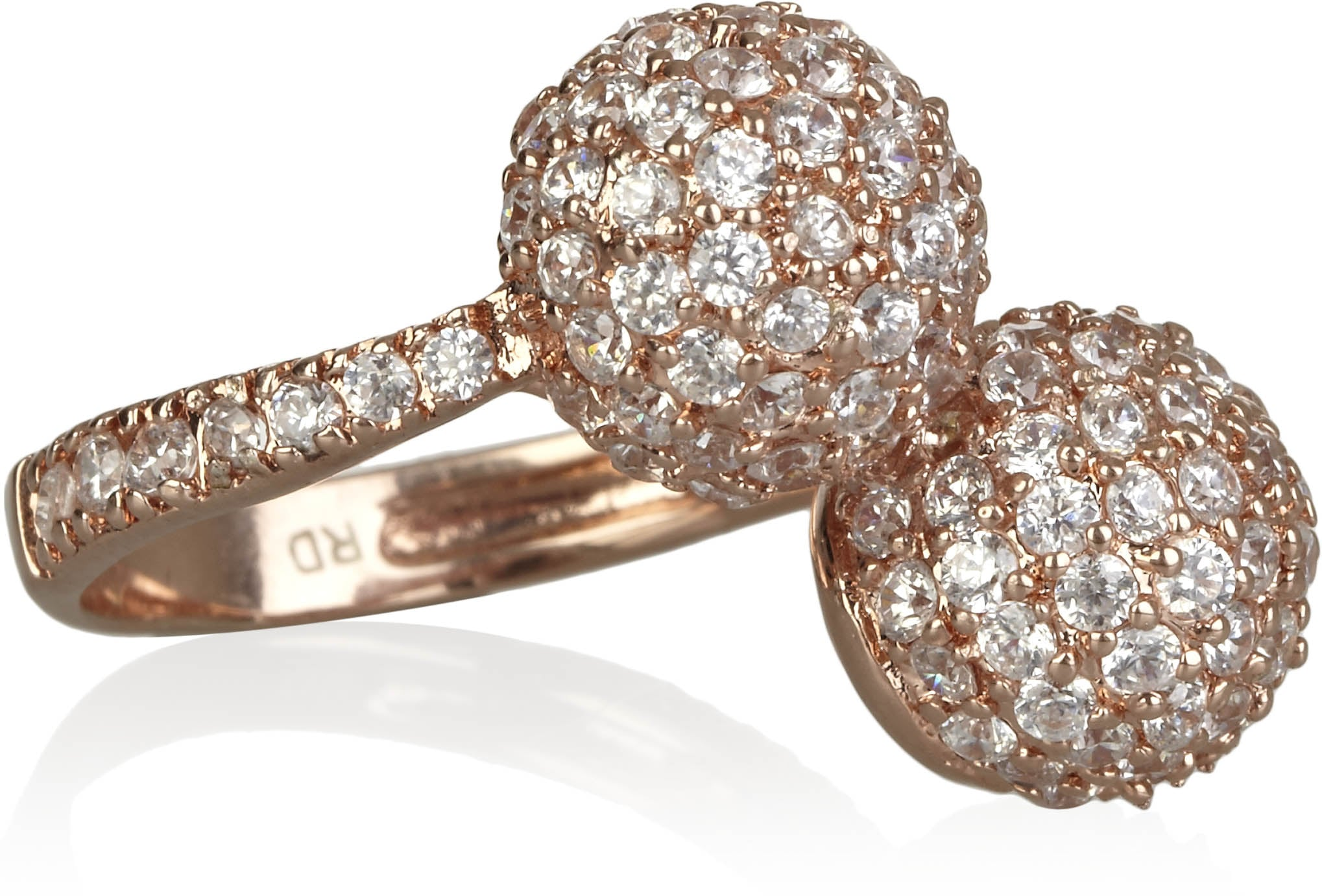 Rose Gold-Plated Pavé Ball Ring