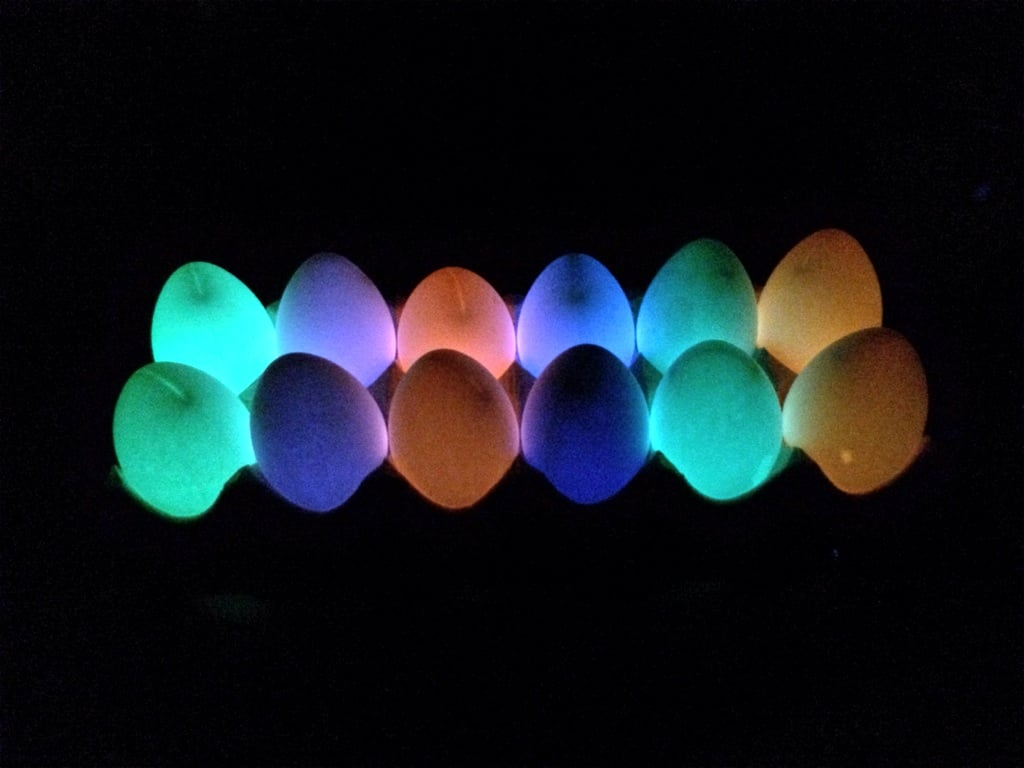 """So I injected eggs with the liquid from various glow sticks. I was not disappointed."" Source: Reddit user SullenSkies via Imgur"