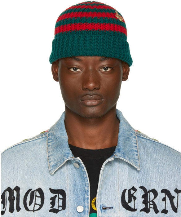 72e1c32ca5df3 Gucci Red and Green Striped Wool Beanie
