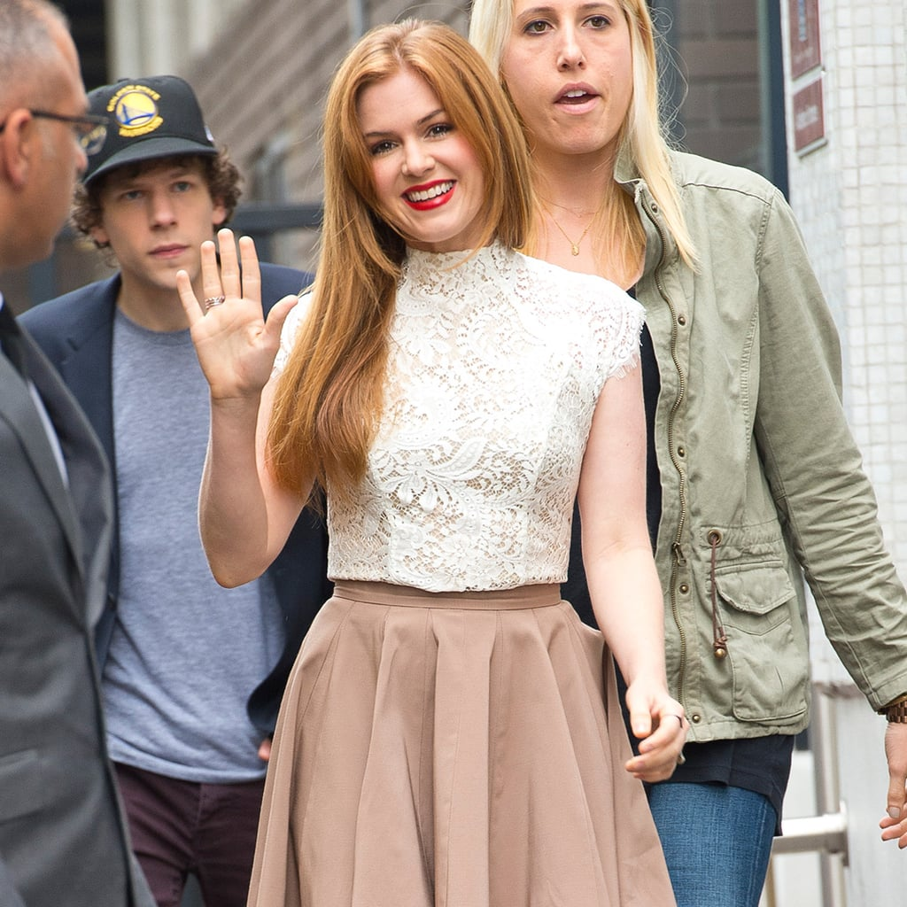 Isla Fisher Wearing Lace Top