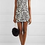 Sprwmn One-Shoulder Zebra-Print Leather Mini Dress