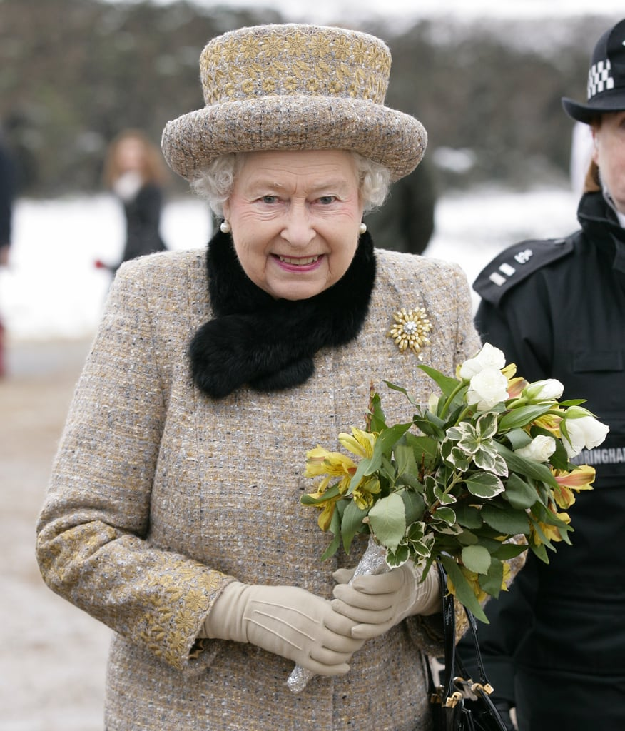 The queen carried a bouquet after leaving services on Feb. 5, the day before Accession Day.