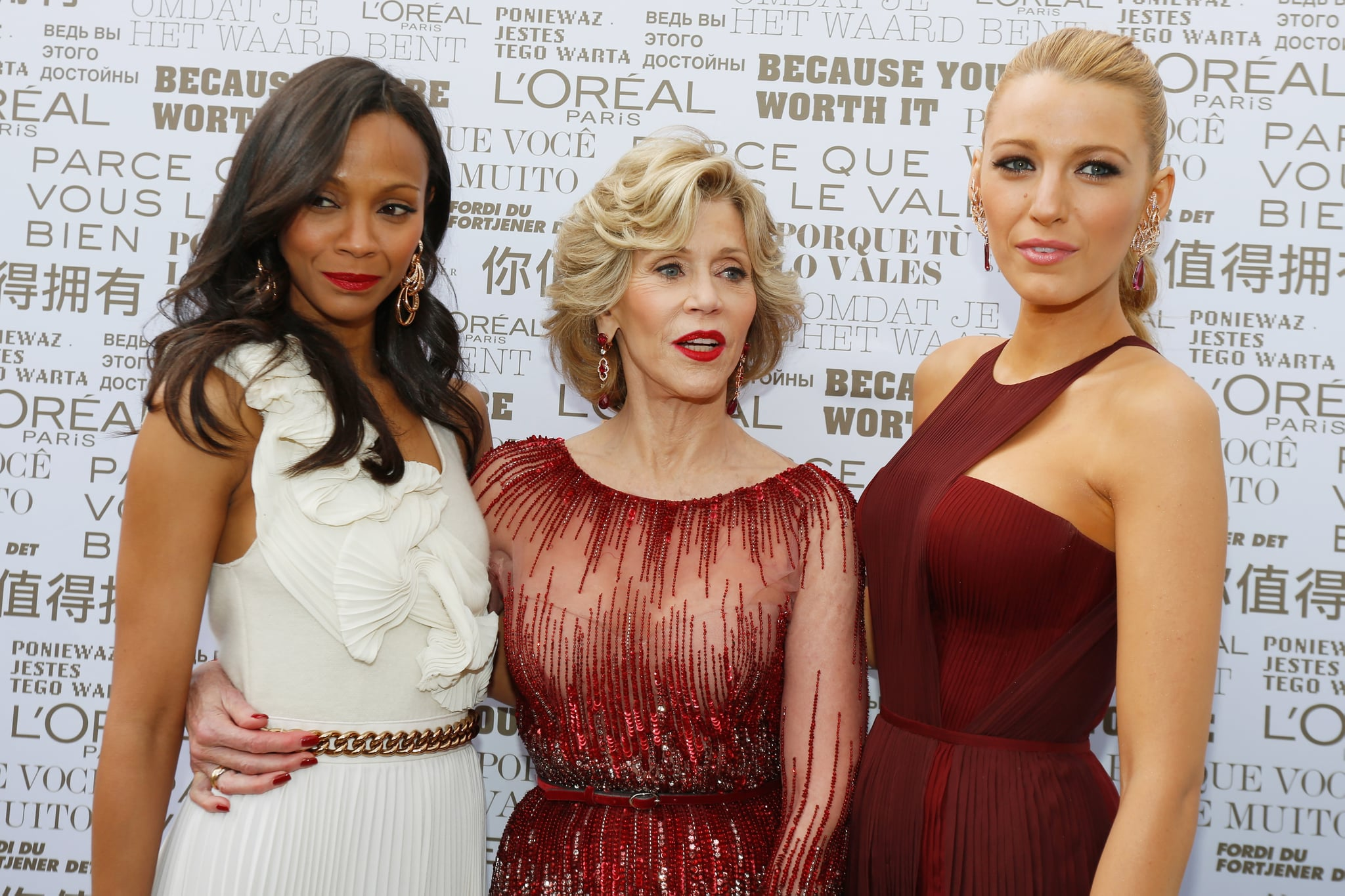Zoe Saldana, Jane Fonda, and Blake Lively took a group photo at the opening ceremony.